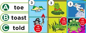 Long 'o' Word Families Game : oad, oak, oap, oaf, oach, oast, oal, oam, oan, oat, ow, oe, ost, old