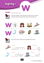 beginning consonant W