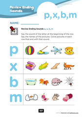 ending consonants sounds of p, x, b, m