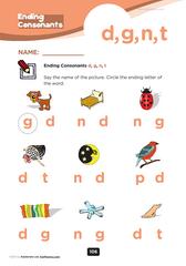 ending consonant d,g,n,t