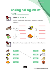 ending blends, digraphs