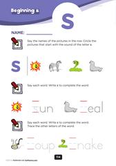 beginning consonant s
