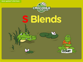 Word Families - s blends Crocodile Phonics Game