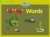 Word Families - long a vowel digraphs Crocodile Phonics Game