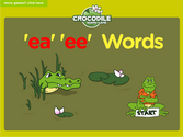 Word Families - ea, ee, long e Crocodile Phonics Game