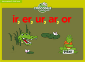 Word Families - r controlled vowels Crocodile Phonics Game