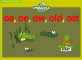 Word Families - oa, oe, ow, old, ost Crocodile Phonics Game