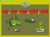 Word Families - oa, oe, ow, old, ost Crocodile Phonics Game