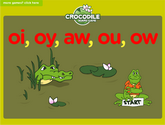 Word Families - aw, oi, oy, au Crocodile Phonics Game