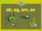 Word Families - ab, ag, am, an Crocodile Phonics Game