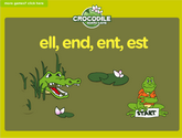 Word Families - ell, end, ent, est Crocodile Phonics Game