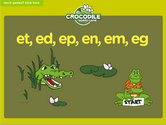 Word Families - et, ed, ep, eg, em, en Crocodile Phonics Game
