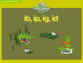 Word Families - ib, ip, ig, id Crocodile Phonics Game