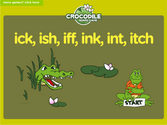 Word Families - ick, ish, iff, ink, int, itch Crocodile Phonics Game