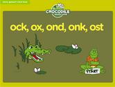 Word Families - ock, ox, ond, ong, onk, ost Crocodile Phonics Game