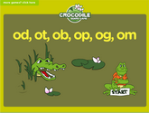 Word Families - od, ot, ob, op, og, om Crocodile Phonics Game