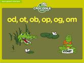 Word Families - od, ot, ob, op, og, om Crocodile Phonics Game