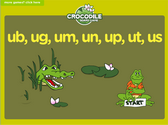 Word Families - ub, ug, um, un, up, ut, us Crocodile Phonics Game