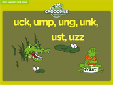 Word Families - uck, ump, ung, unk, ust, uzz Crocodile Phonics Game